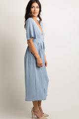 Blue V-Neck Cropped Wide Leg Jumpsuit