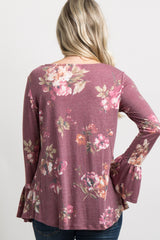 Burgundy Floral Ruffle Peplum Front Maternity Top