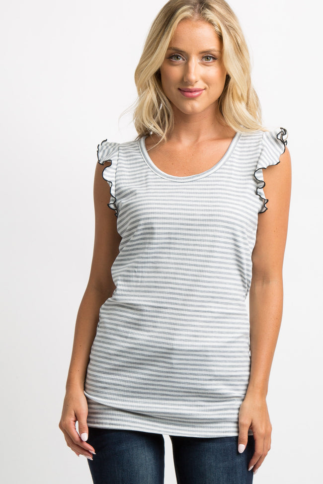 Heather Grey Striped Lettuce Edge Top