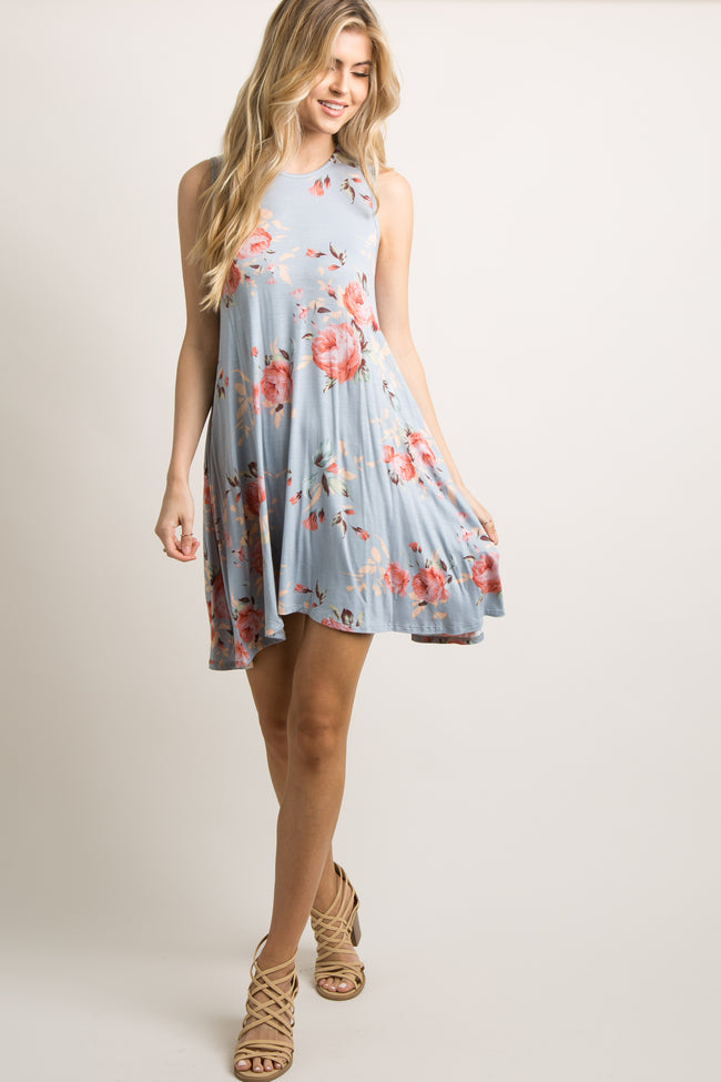 Pale Blue Rose Floral Sleeveless Dress
