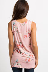 Peach Floral Sleeveless Knot Top