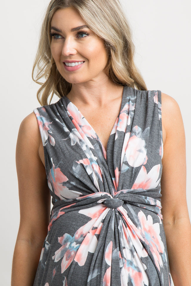 Charcoal Grey Floral Sleeveless Knot Front Maternity Maxi Dress