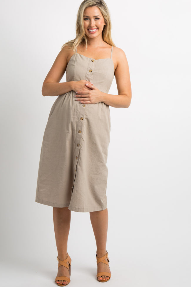 Taupe Button Down Maternity Midi Dress