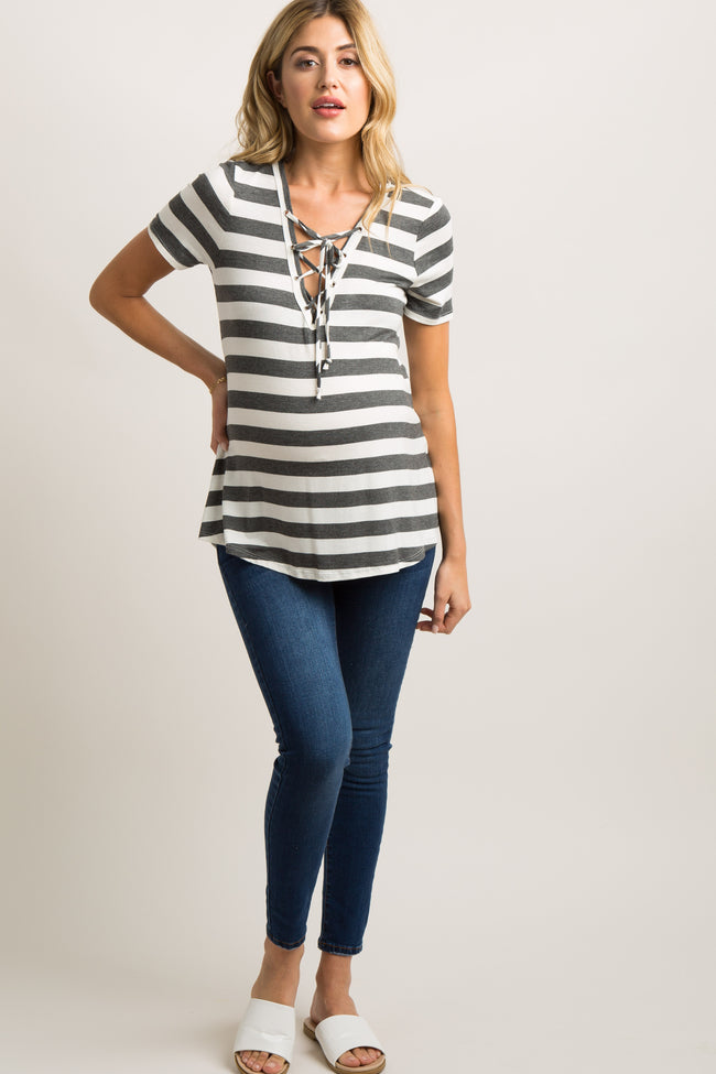 Charcoal Grey Striped Lace-Up Tie Front Maternity Top
