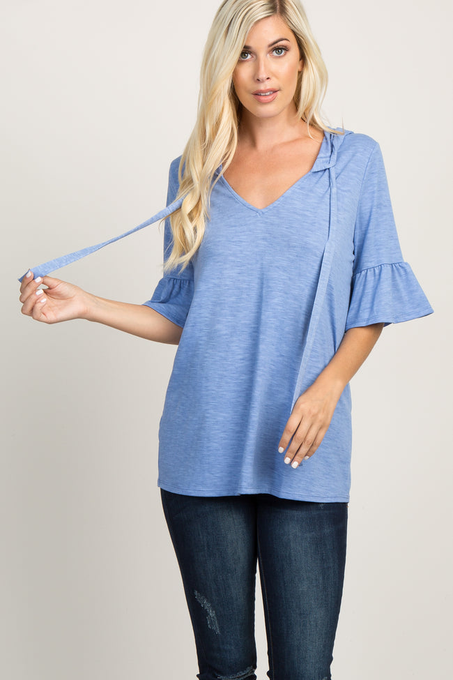 Blue Hooded Drawstring Tie Front Maternity Top
