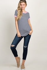 Navy Striped Color Block Boat Neck Top