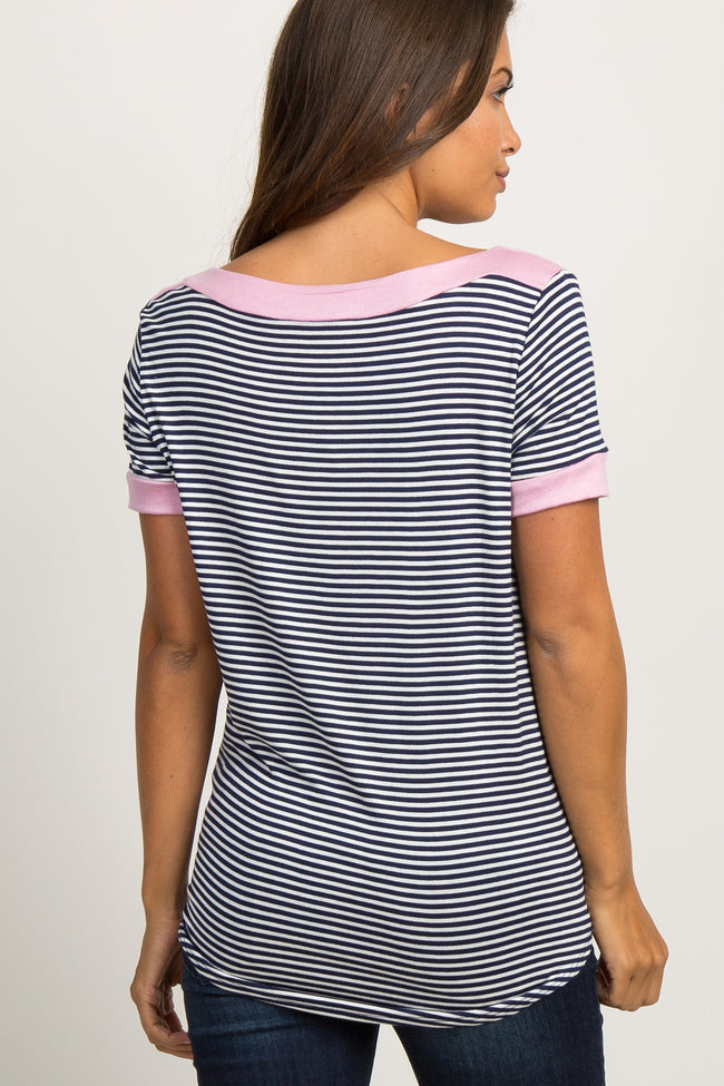 Navy Striped Color Block Boat Neck Maternity Top