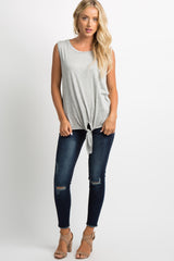 Heather Grey Knotted Hem Sleeveless Top