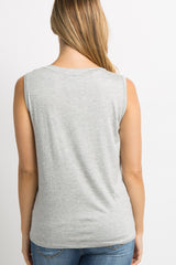 Heather Grey Knotted Hem Sleeveless Maternity Top