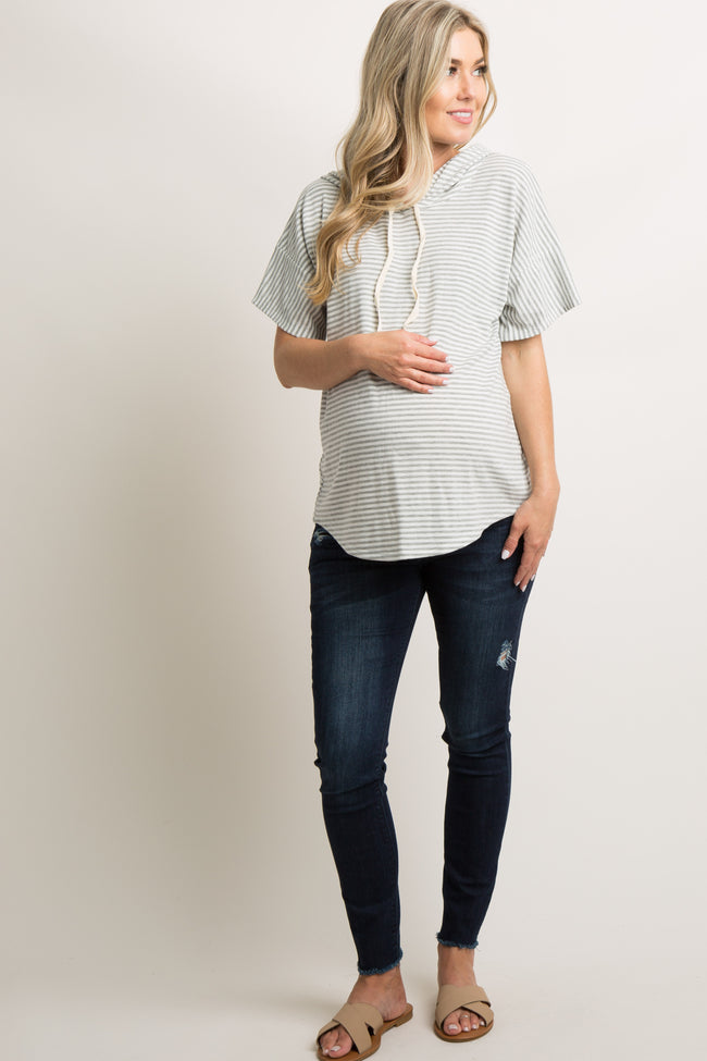 Heather Grey Striped Hooded Maternity Top