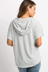 Heather Grey Striped Hooded Top