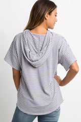 Lavender Striped Hooded Top