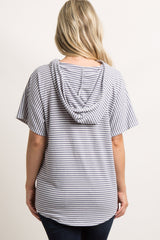 Lavender Striped Hooded Maternity Top