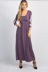 Lavender Crochet Sleeve Maxi Dress