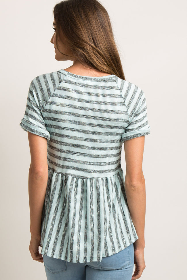 Blue Striped Knit Peplum Top