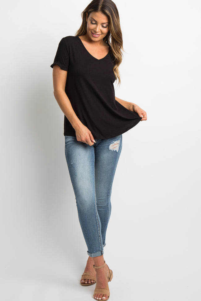 Black Ruffle Trim V-Neck Top