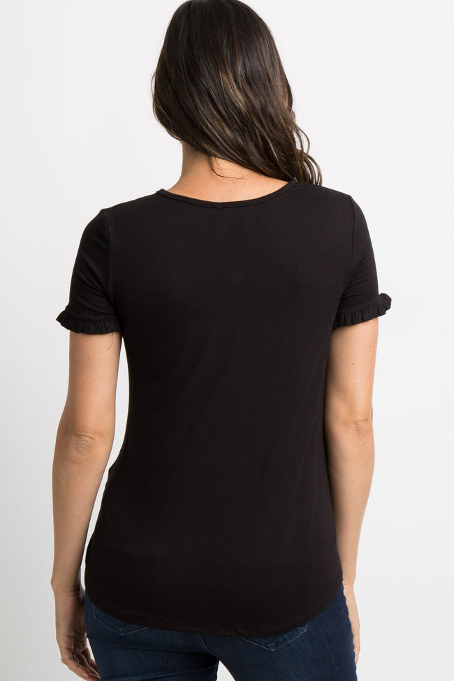 Black Ruffle Trim V-Neck Maternity Top