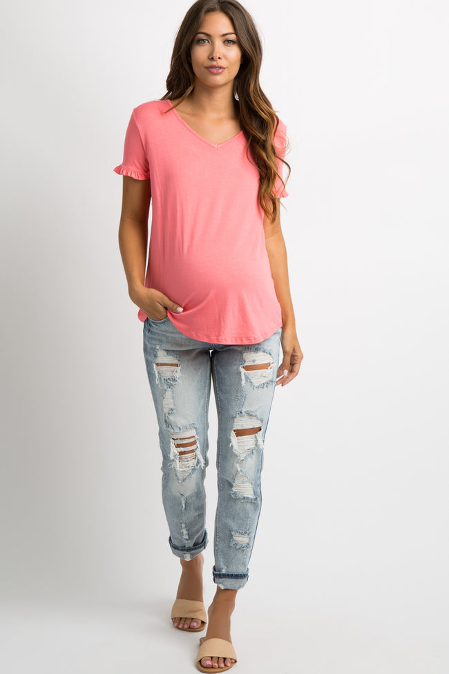 Coral Ruffle Trim V-Neck Maternity Top