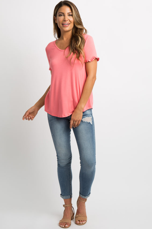 Coral Ruffle Trim V-Neck Top