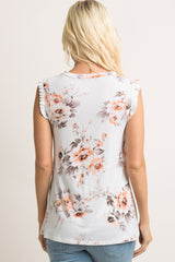 Ivory Floral Sleeveless Ruffle Accent Top