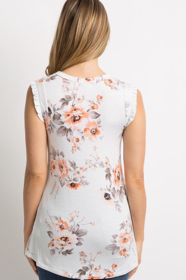 Ivory Floral Sleeveless Ruffle Accent Maternity Top