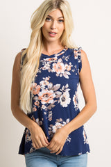 Navy Blue Floral Sleeveless Ruffle Accent Top