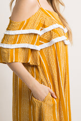Yellow Printed Tassel Open Shoulder Maternity Jumpsuit