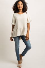 Beige Frayed Linen Ruffle Trim Top