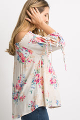 Cream Floral Tie Sleeve Off Shoulder Maternity Top