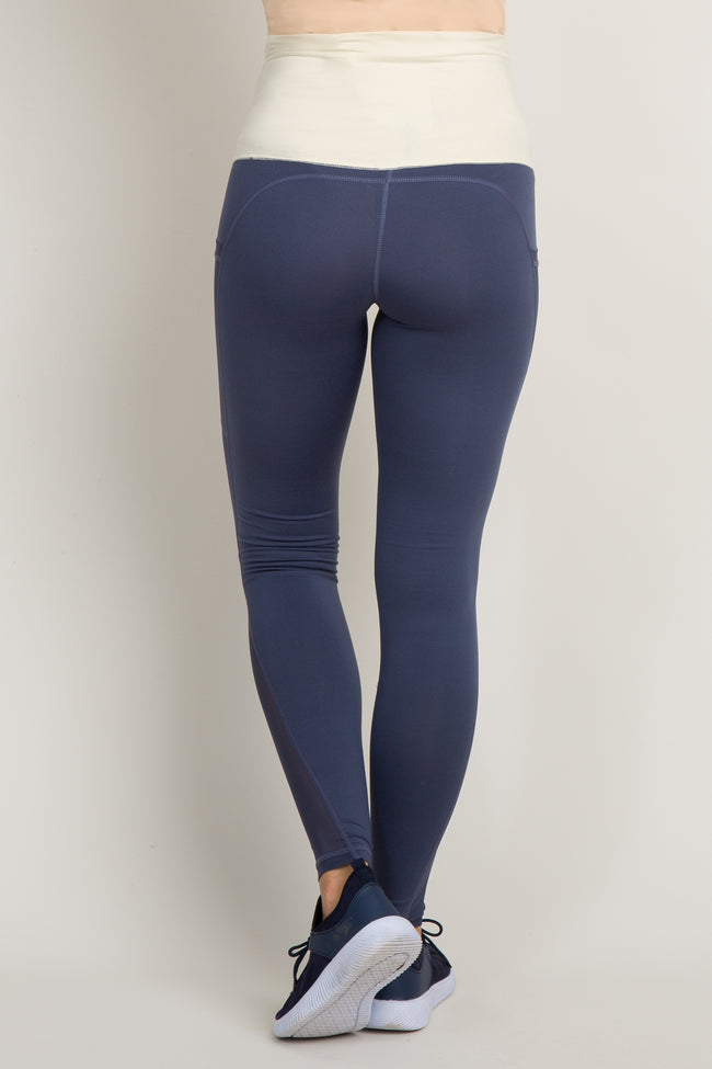 Blue Mesh Panel Maternity Active Leggings