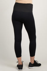 Black Laser Cut Dot Cropped Active Maternity Legging