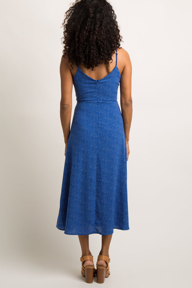 Blue Polka Dot Print Flounce Cami Midi Dress