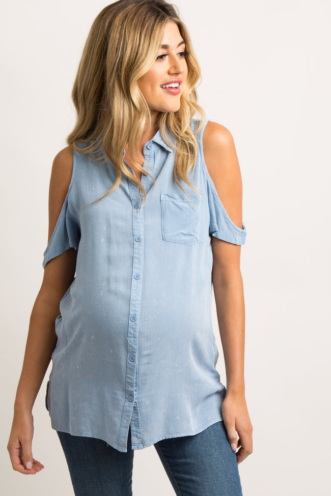 Blue Collared Cold Shoulder Maternity Top