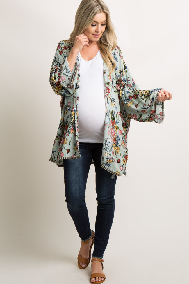 Mint Floral Embroidered Trim Maternity Kimono