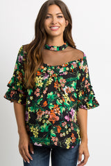 Black Floral Mesh Ruffle Trim Maternity Top