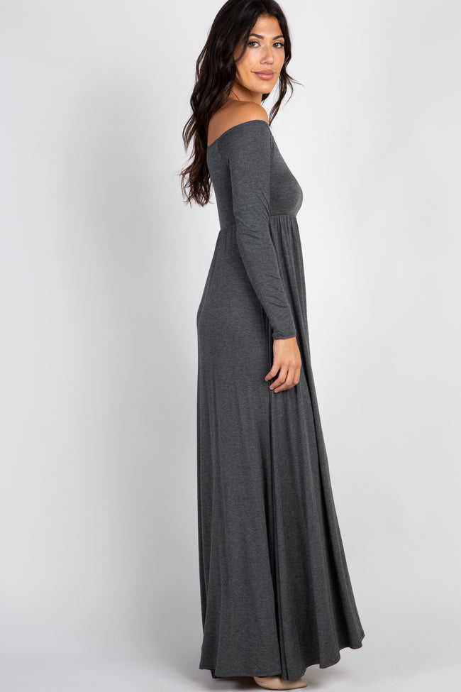 PinkBlush Charcoal Solid Off Shoulder Maxi Dress