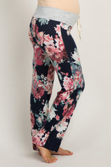 Navy Abstract Floral Drawstring Maternity Lounge Pants