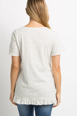 White Striped Ruffle Hem Short Sleeve Maternity Top