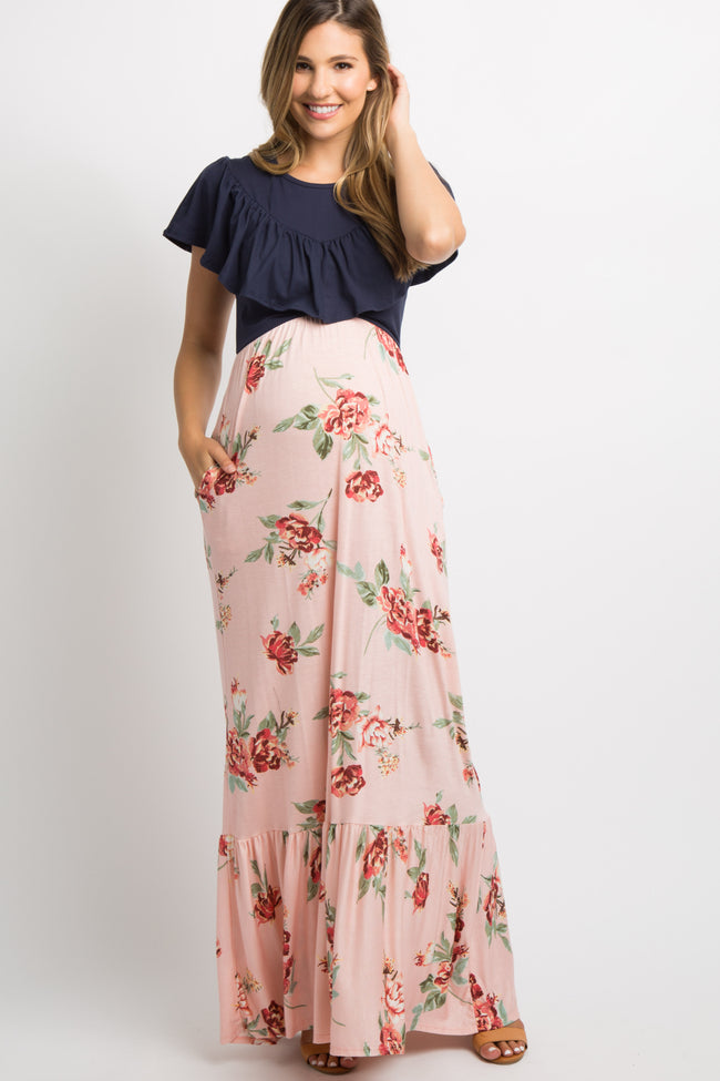 Pink Floral Colorblock Ruffle Accent Maternity Maxi Dress