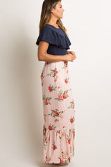 Pink Floral Colorblock Ruffle Accent Maxi Dress