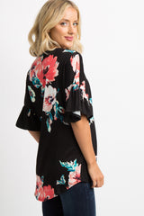 Black Floral Knot Front Ruffle Top