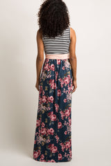 Teal Floral Striped Sash Tie Maternity Maxi Dress