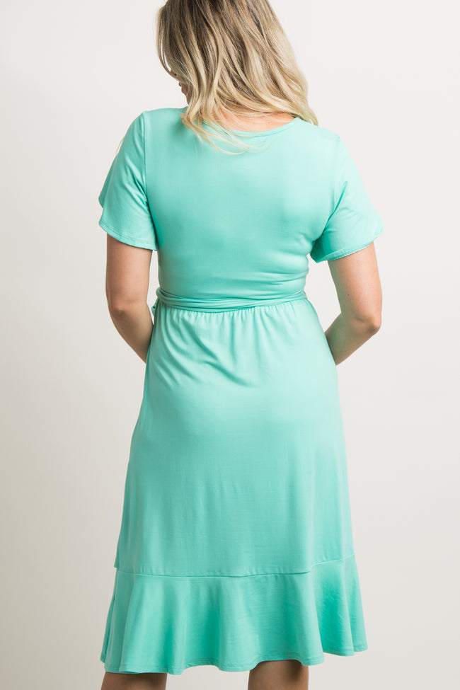 Mint Green Solid Flounce Trim Maternity Dress