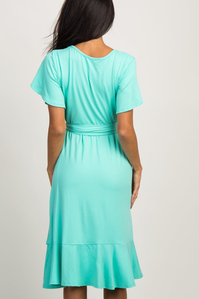 Mint Green Solid Flounce Trim Dress