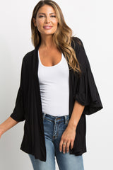 Black Solid Bell Sleeve Cardigan