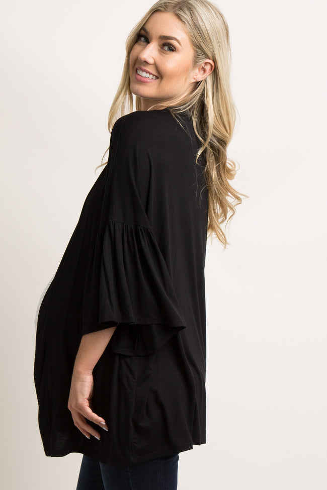 Black Solid Bell Sleeve Maternity Cardigan