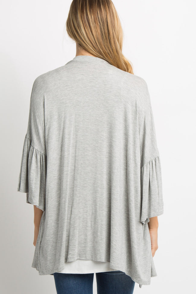 Heather Grey Solid Bell Sleeve Maternity Cardigan