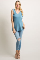 Blue Ruffle Racer Back Tank Top