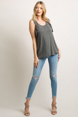 Charcoal Ruffle Racer Back Tank Top