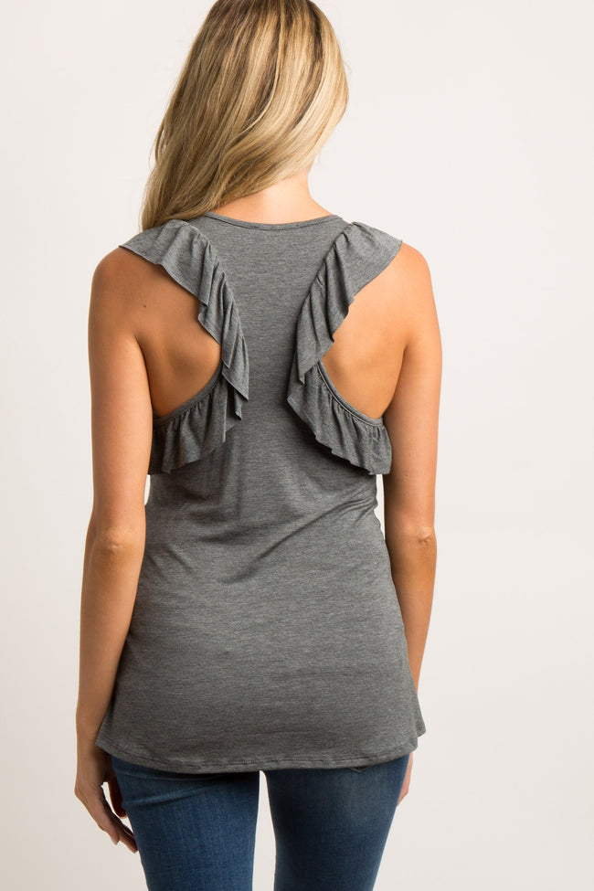 Charcoal Ruffle Racer Back Maternity Tank Top